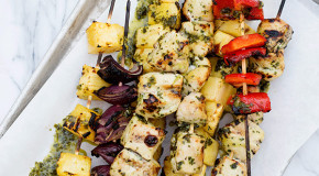 Grilled Chicken and Pineapple Skewers with Basil Dressing Recipe