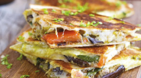 Grilled Vegetable Quesadillas with Kale Pesto Recipe