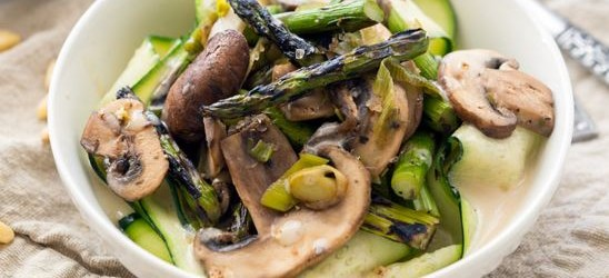 Grilled Asparagus with Cream Sauce over Ribbons Recipe