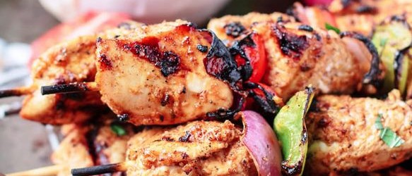 Mediterranean Grilled Chicken Kebabs with Cayenne Tahini Sauce Recipe