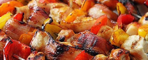 Grilled Honey BBQ Bacon Chicken Kebabs Recipe
