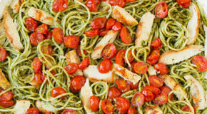 Pesto Spaghetti with Roasted Tomatoes and Grilled Chicken Recipe