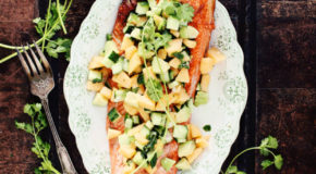 Grilled Salmon with Avocado-Melon-Cucumber Salsa Recipe