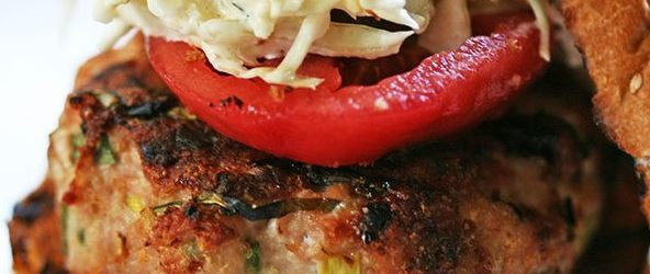 Spicy Grilled Turkey Burger with Coleslaw Recipe