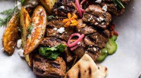 Greek Lamb Souvlaki Plates with Avocado Tzatziki Recipe