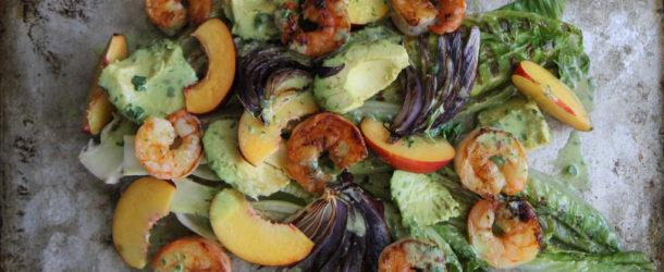 Grilled Romaine, Prawn, Avocado and Nectarine Salad with Jalapeno Honey Vinaigrette Recipe