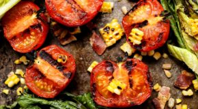 Grilled Romaine and Tomato Salad with Bacon and Homemade Buttermilk Ranch Dressing Recipe