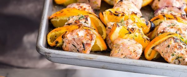 Grilled Salmon Kebabs in an Orange and Herb Marinade Recipe
