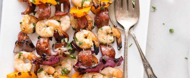 Grilled Shrimp Skewers with Spanish Chorizo Recipe