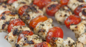 Grilled Pesto Chicken and Tomato Kebabs Recipe