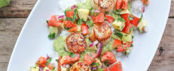 Grilled Scallops with Tomato Mango Salsa and Tomatillo Guacamole Recipe