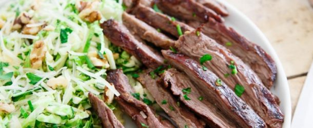 Grilled Skirt Steak with Brussels Sprouts Salad Recipe