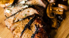 Grilled Tri-Tip Steak with Mushrooms and Herb Compound Butter Recipe