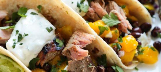 Grilled Tuna Soft Tacos with Mango Black Bean Salsa Recipe