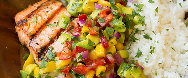 Grilled Lime Salmon with Avocado-Mango Salsa and Coconut Rice Recipe