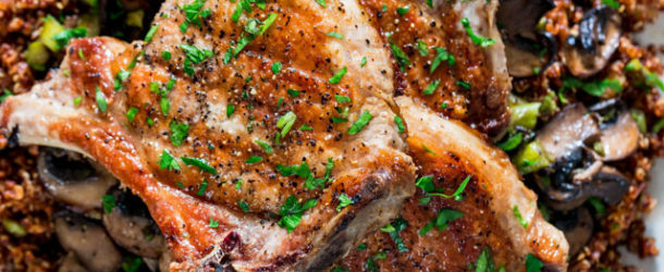 Grilled Pork Chops with Quinoa, Asparagus and Mushrooms Recipe