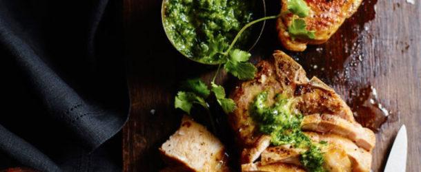 Grilled Pork Chops with Jalapeño Chimichurri Recipe
