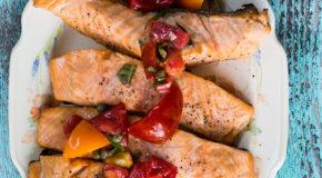 Grilled Salmon with Tomato Caper Vinaigrette Recipe