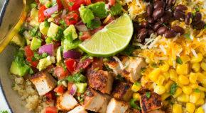 Grilled Chicken and Quinoa Burrito Bowls with Avocado Salsa Recipe
